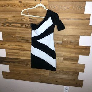 One Strap Black and White Dress